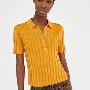 Zara Tops - Zara yellow ribbed polo